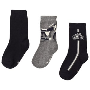 Image of Mayoral 3-Pack Navy/Grey Motorcycle Themed Socks 2 years (3125270699)