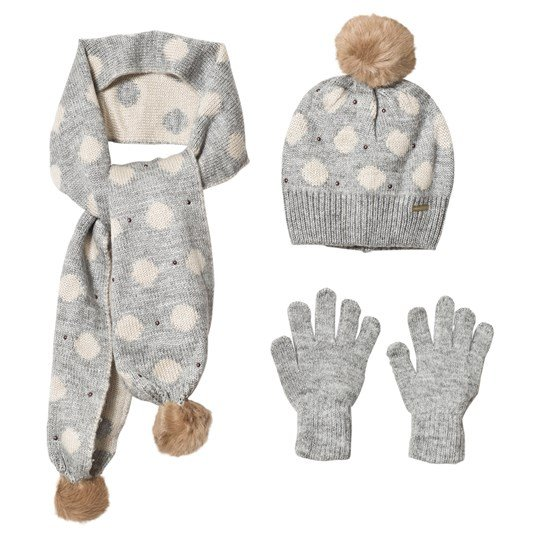 Mayoral Grey & Cream Polka Dot Knitted Scarf, Beanie and Gloves Set 62