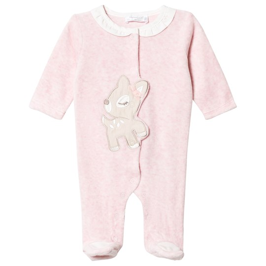 Mayoral Pink Fawn Applique Velour Footed Baby Body 11