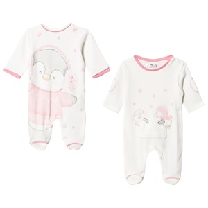 Image of Mayoral 2-Pack Cream & Pink Penguin Print Footed Baby Bodies 0-1 months (3125253163)