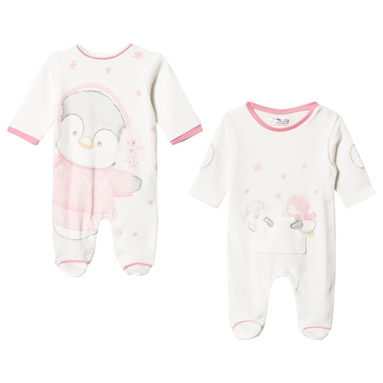 Mayoral 2-Pack Cream & Pink Penguin Print Footed Baby Bodies 76
