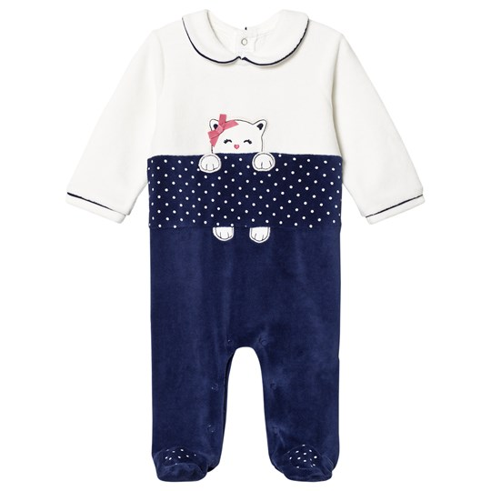Mayoral White & Navy Kitten Velour Footed Baby Body 40