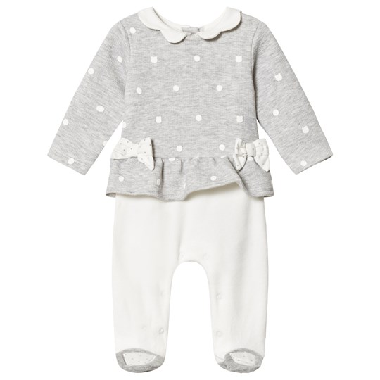 Mayoral Grey & White Polka Dot Footed Baby Body 16