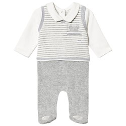 Mayoral Grey & White Striped Vest Top Footed Baby Body