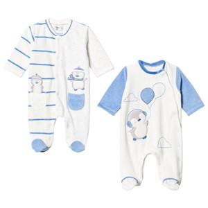 Image of Mayoral 2-Pack White & Blue Penguin Applique Velour Footed Baby Bodies 12 months (3125252457)
