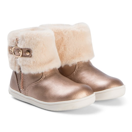 Mayoral Rose Gold Faux Fur Cuff Boots 38
