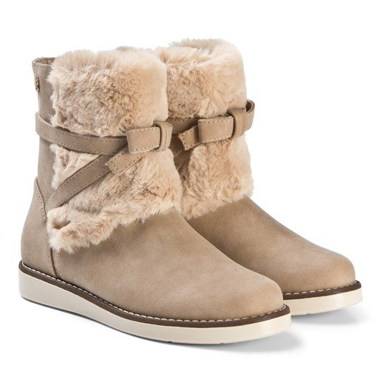 Mayoral Beige Faux Fur Bow Detail Cuff Boots 75