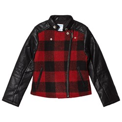Mayoral Black & Red Plaid Faux Leather Biker Jacket