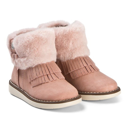 Mayoral Pink Faux Fur Fringed Cuff Boots 43