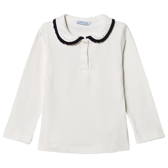 Mayoral White & Navy Trim Jeweled Collar Polo Top 35