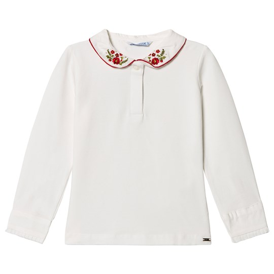 Mayoral Cream & Red Floral Embroidered Collar Polo Top 24