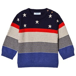 Mayoral Navy, Red & Cream Stars & Stripes Knit Sweater