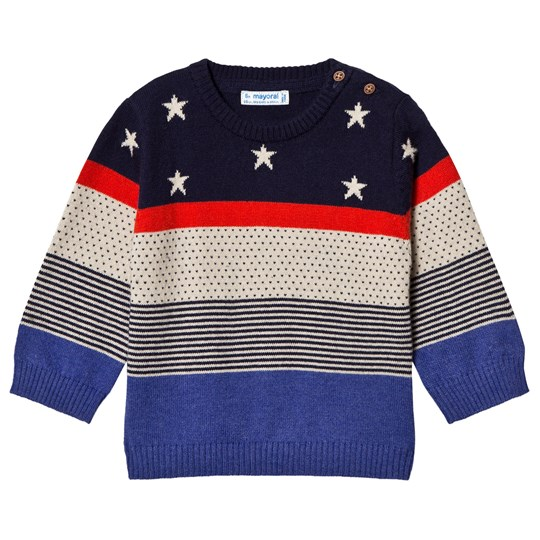 Mayoral Navy, Red & Cream Stars & Stripes Knit Sweater 74