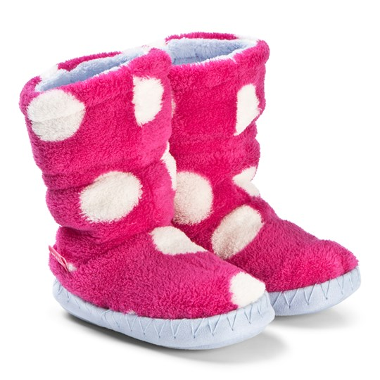 Tom Joule Pink Spotted Padabout Slipper Booties RASPBERRY ROSE SPOT