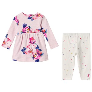 Image of Tom Joule Pink Floral Print Dress & Cream Polka Dot Print Leggings Set 9-12 months (3125324711)