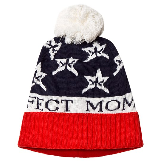 Perfect Moment Navy and Red Pom-Pom Beanie NAVY / RED