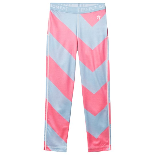 Perfect Moment Pink and Blue Chevron Super Thermal Pants Alaska Blue/Peach Pink