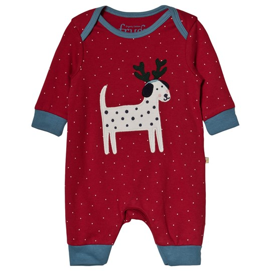 Frugi Reindeer Dog One-piece Röd Mars Red Snowy Spot/Dog_AW18