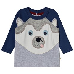Frugi Grey and Navy Husky Tee