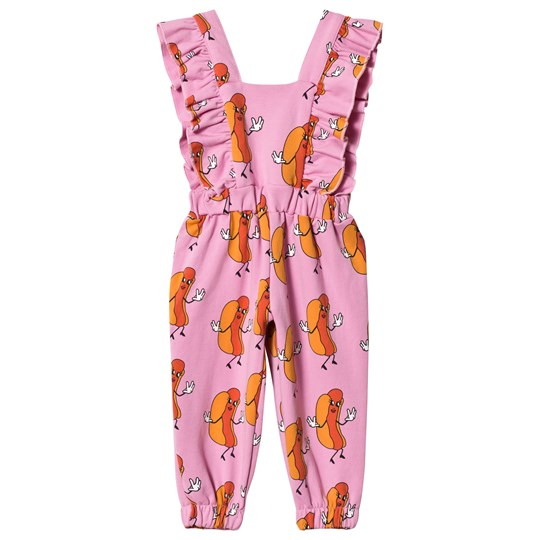 Hugo Loves Tiki Hot Dogs Ruffled Jumpsuit Pink Hot Dogs