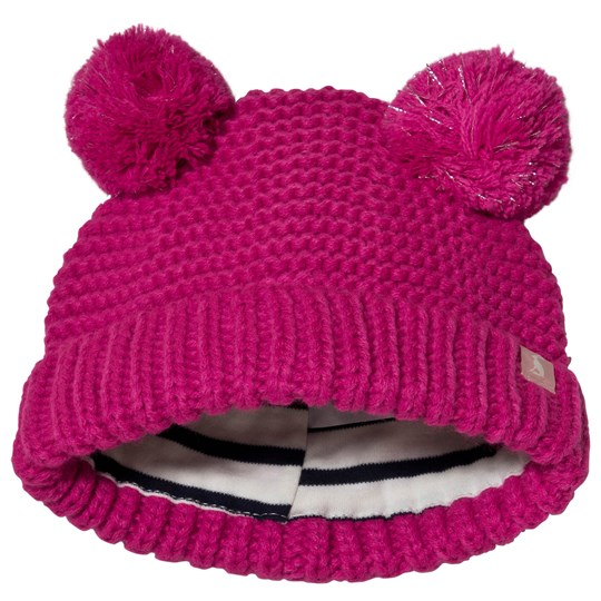 Tom Joule Fuschia Sparkle Pom-Pom Knitted Baby Beanie TRUE PINK