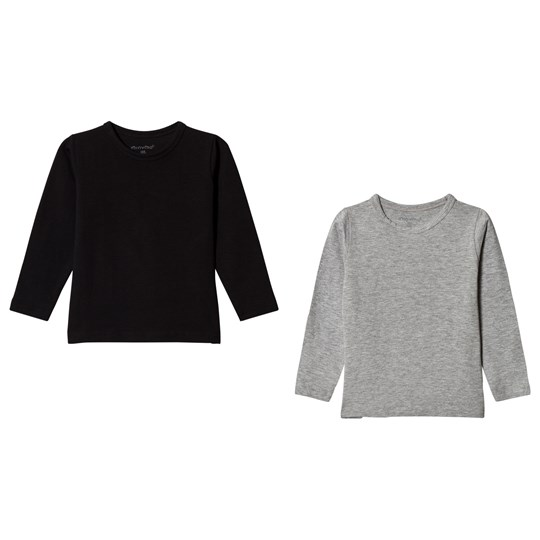 Minymo 2-Pack T-Shirts Anthracite Black Anthacite Black