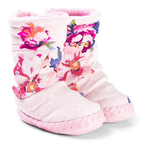 Tom Joule Pink & Floral Print Padabout Slipper Booties PINK MARL GRANNY FLORAL