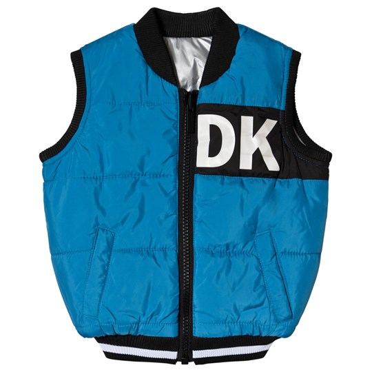DKNY Blue Reversible into Silver Water Repellent Logo Puffer Gilet M48