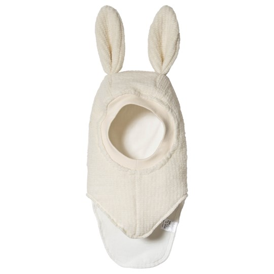 Huttelihut Elefanthut Wool Balaclava with Bunny Ears Off White