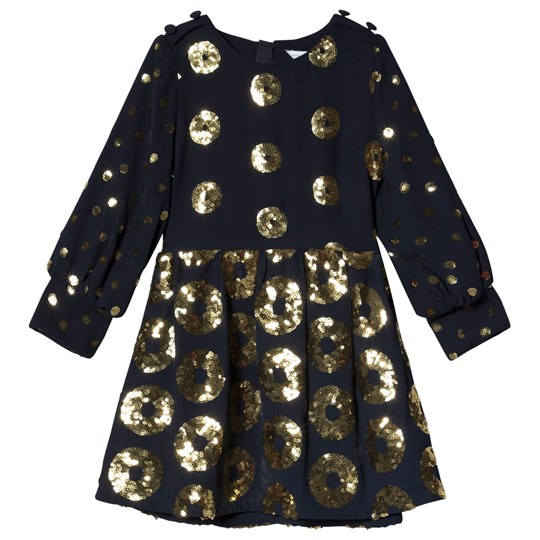 Little Marc Jacobs Navy Dress with Gold Sequin 85V