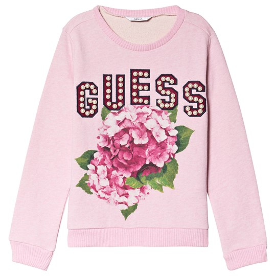 Guess Pink Marl Pearl Guess and Floral Sweatshirt F876