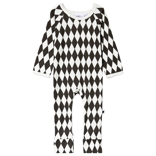 Tobias & The Bear Black and White Harlequin One-Piece Dark Grey on White