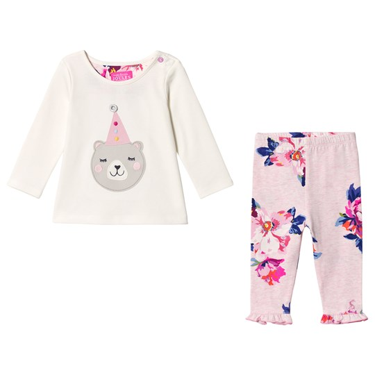 Tom Joule Cream Baby Poppy Bear Applique Top and Leggings Set CREAM PARTY BEAR