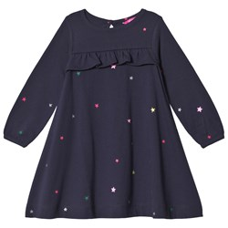 Tom Joule Star Print Ruffle Dress Navy Lana