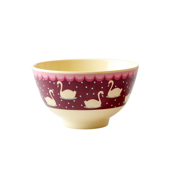 Rice Small Melamine Bowl Purple Swan Bordeaux