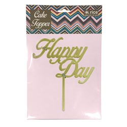 Rice Happy Day Cake Topper Gold