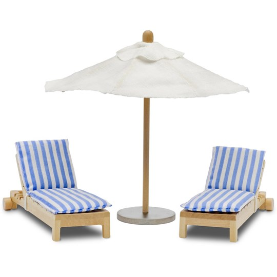 LUNDBY Accessories Stockholm Sun Bed and Parasol Set Blue