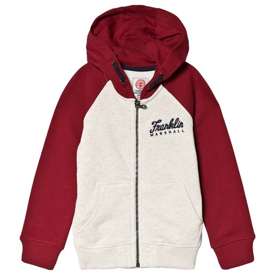 Franklin & Marshall Grey Dark Red Branded Hoodie 966