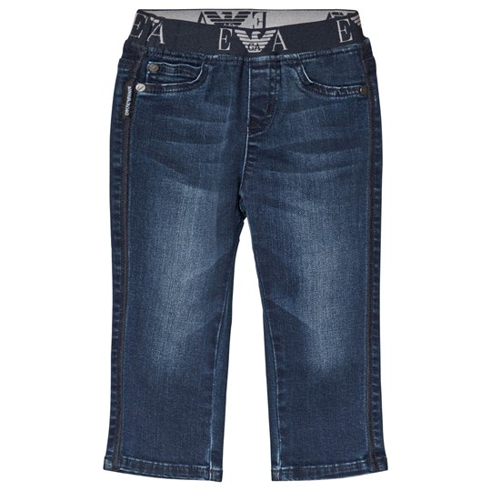 Emporio Armani Blue Mid Wash Branded Waistband Pull Up Jeans 0941