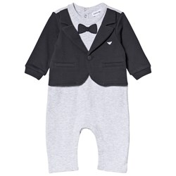 Emporio Armani Grey and Navy Mock Outfit Set Footless Babygrow