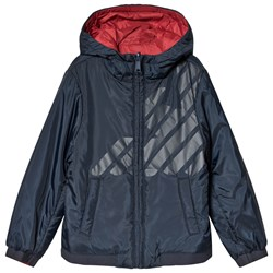 Emporio Armani Navy Logo Reversible into Red Lightweight Hooded Jacket