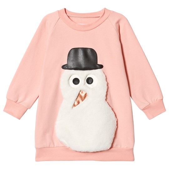 Wauw Capow Pink Long Sleeve Dress with Snowman Pink
