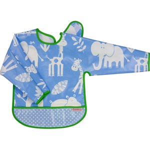 Bilde av Bambino Eat-n-play Long Sleeve Bib Blue Jungle/sky One Size