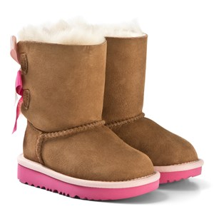 Image of UGG Pink and Chestnut Bailey Bow II Boots 36 (UK 3 / US 4) (3125301237)