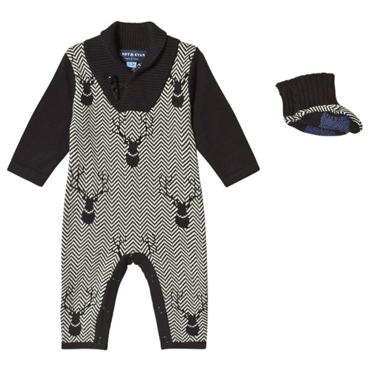 Andy & Evan Black Herringbone One-Piece BKH