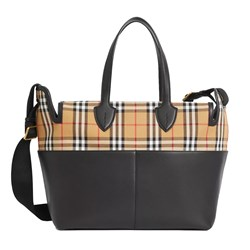 Burberry Black Kingswood and Check Changing Bag