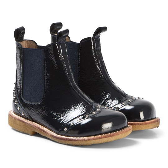 Angulus Navy Patent Studded Boots 1392