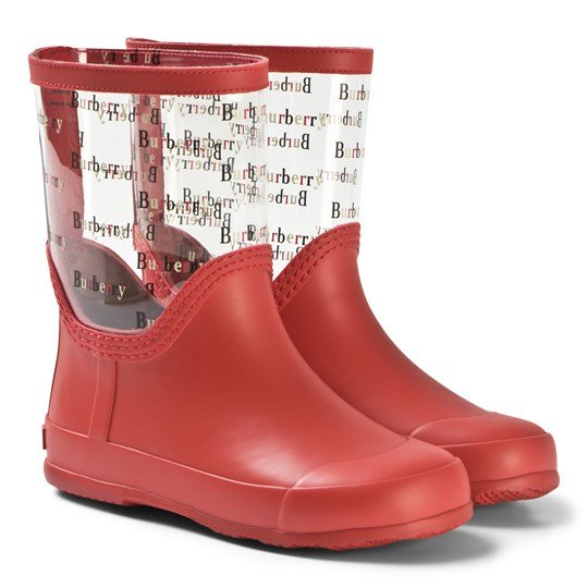 Burberry Bright Red Rubber Logo Rubber Rain Boots Bright Red