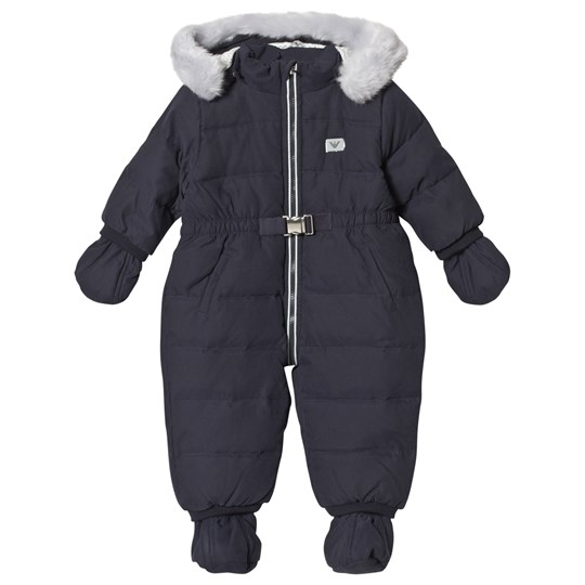 Emporio Armani Navy Down-Filled Snowsuit with Fleece Lining and Detachable Booties 0919