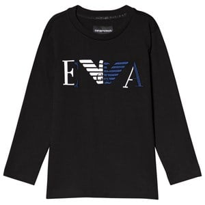 Image of Emporio Armani Black Embroidered Long Sleeve Tee 4 years (3125259199)